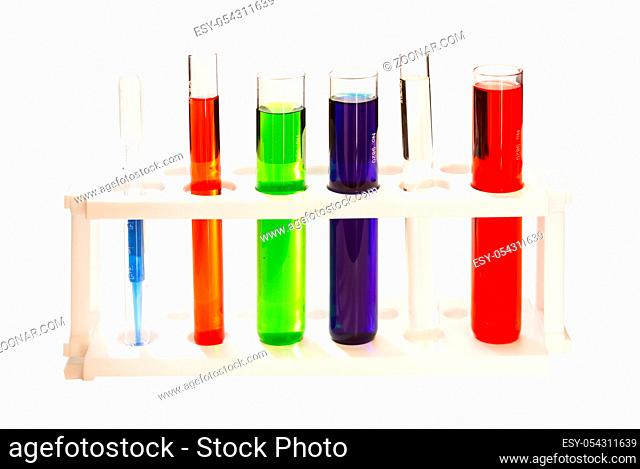 Group of laboratory flasks empty on white isolate background (clipping path)
