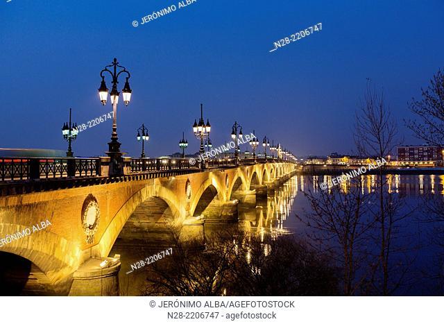 Pont de Pierre Garonne river Bordeaux Aquitaine France