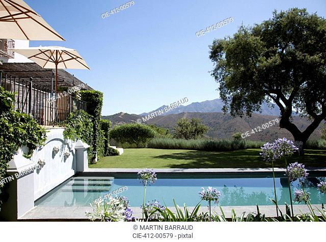 Luxury lap pool with tree and mountains in background