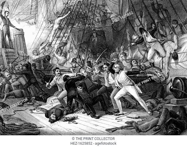 Nelson boarding the 'San Josef', Battle of Cape St Vincent, 1797. At the Battle of Cape St Vincent, the British fleet under Admiral Sir John Jervis defeated the...