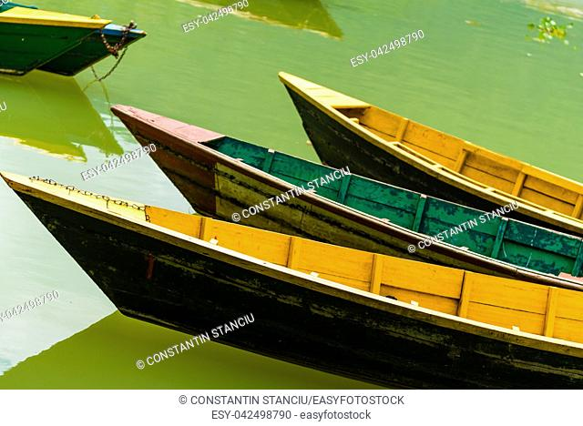Detail of colourful boat on Phewa lake in Pokhara, the most popular and visited lake of Nepal