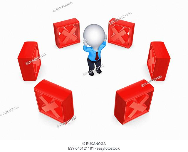 Red cross marks around 3d small person.Isolated on white background.3d rendered