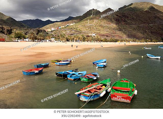fishing boats at the beach Playa de Las Teresitas near San Andres, Tenerife, Canary Islands, Spain, Europe
