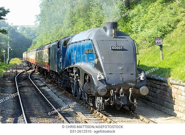 """LNER Class A4 locomotive """"""""Sir Nigel Gresley, operated by the North Yorkshire Moors Railway, at Goathland station"""