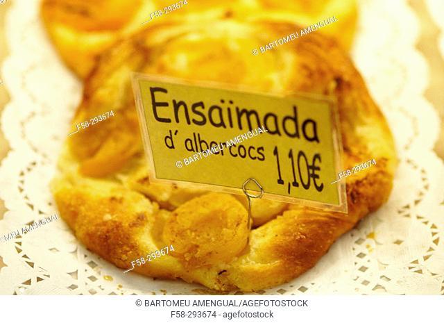 'Ensaimada' typical pastry. Majorca, Balearic Islands. Spain