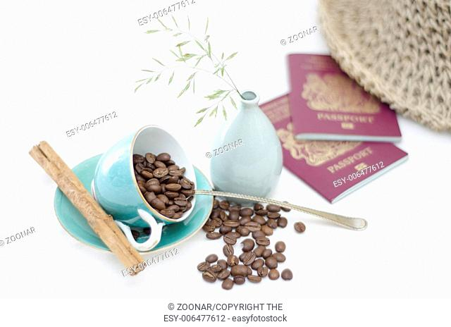 Coffee Cups and Coffee Beans with cinnamon and pas