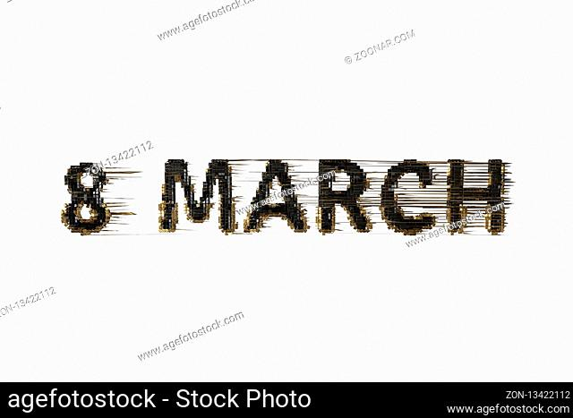 Glitch 8 March symbol. Figure of eight made of black gold city blocks isolated over white background. Can be used as a decorative greeting grungy or postcard...
