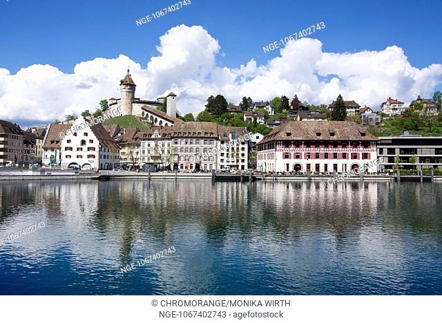 View over the Rhine river of the old town of Schaffhausen with Munot Fortress, High Rhine, Canton of Schaffhausen, Switzerland, Europe