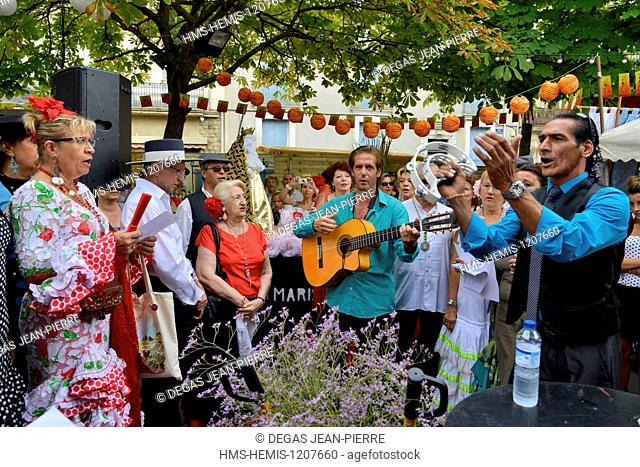 France, Herault, Beziers, November 11th square, annual Feria in the streets of the city, Village of Marisma, Andalusian singings before the departure of Romeria