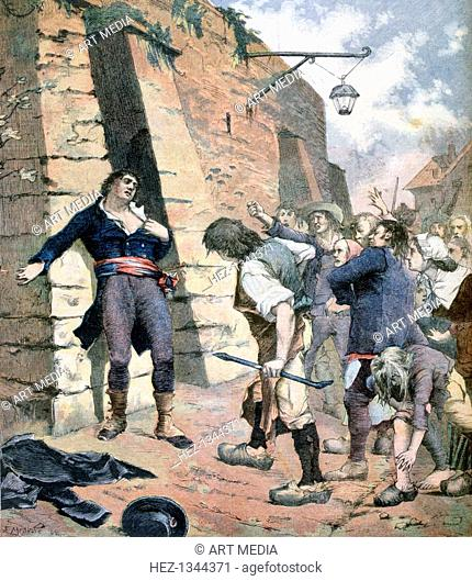 'The Mayor of Rennes', France, 1891. An incident during the French revolution, 1789. A print from the Le Petit Journal, 7th February 1891