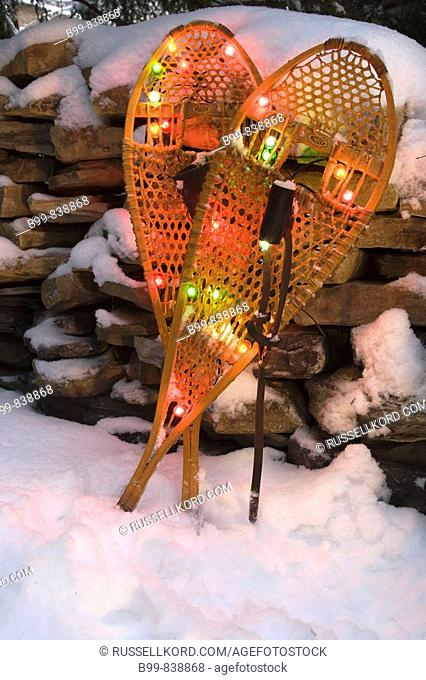 Christmas Lights On Snowshoes In Snow