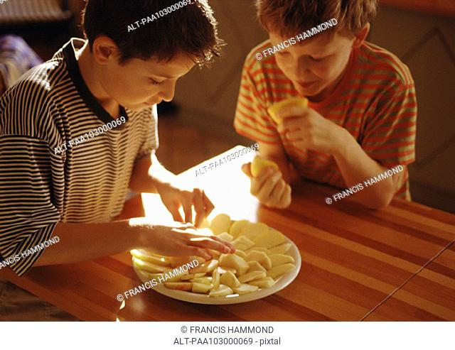 One child placing apple slices on plate, second child holding lemon halves
