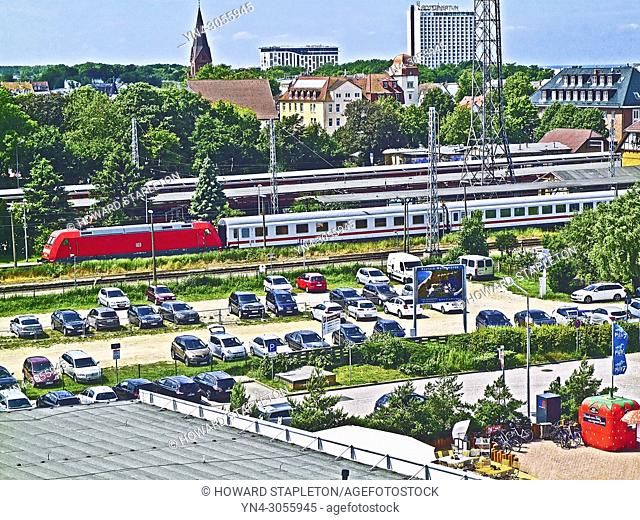 Warnemünde, Germany, Train station and city