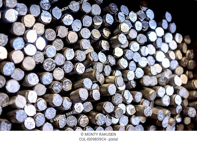 Aluminium alloy samples in precision casting factory