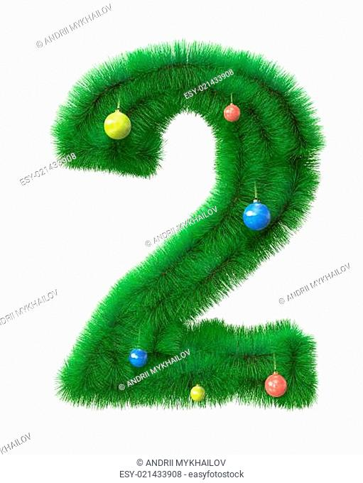 2 number made of christmas tree branches