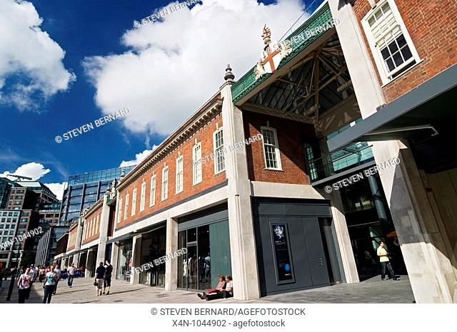 Old Spitalfields Market on Field Street, London, UK  Located within the historical Horner Buildings