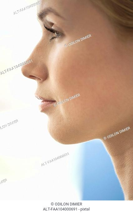 Woman's face, profile, close-up