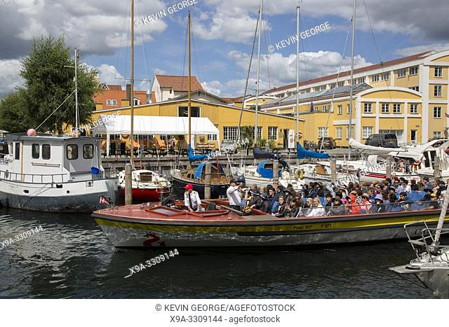 Sightseeing Boat on Canal; Christianshavn; Copenhagen; Denmark