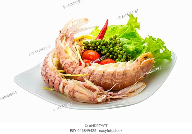 Boiled Spiny lobster with campot pepper