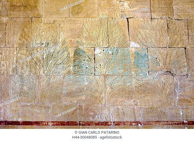 Deir el Bahari, Luxor, Egypt: temple of the queen Hatshepsut (New Kingdom 1567-1080 b.C.) at Deir el Bahari called Djeser-Djeseru: sculptures on the walls...