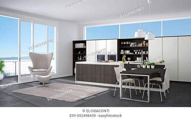 Modern white and gray kitchen with wooden details, big window with sea or lake panorama