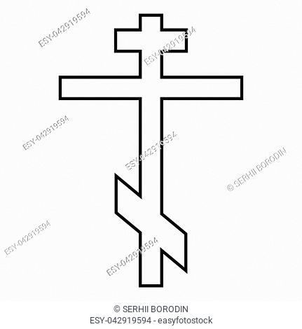 Cross eight-pointed of Greek-Catholic Orthodox icon black color vector illustration flat style simple image