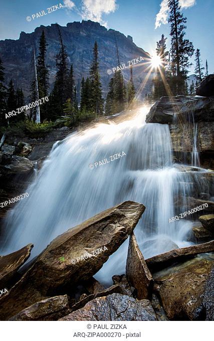 Waterfall In Banff National Park In Alberta, Canada