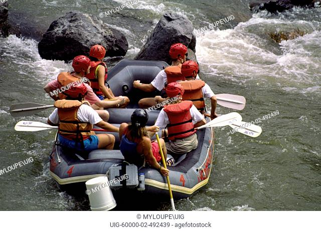 Rafting whitewater rapids on the Nantahala River. The Nantahala River is a river in western North Carolina in the United States