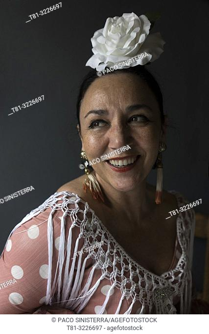 Woman in traditional andalusian costume, Cordoba, Andalusia, Spain