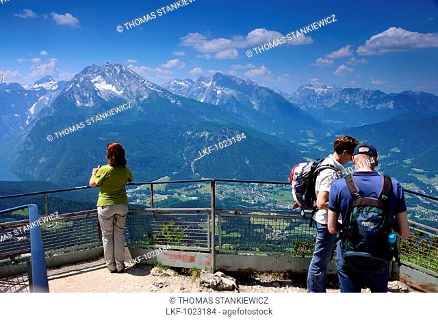 View from Kehlstein hut to Watzmann over Berchtesgaden, Upper Bavaria, Bavaria, Germany