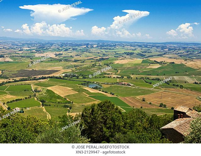 Val d'Orcia, or Valdorcia, view from Montalcino, Siena Province, Tuscany, Italy, Europe