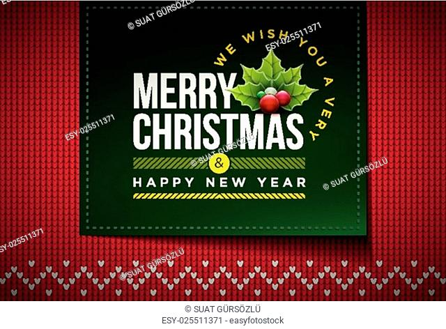 Merry Christmas and Happy New Year message on northern style vector knitted pattern. Elements are layered separately in vector file. Global colors