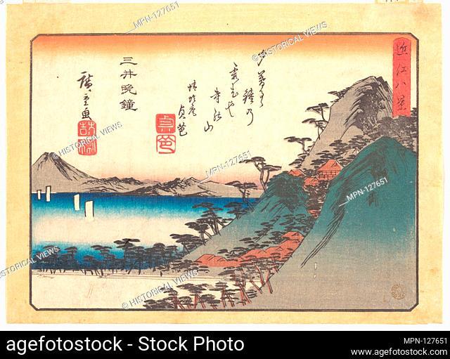 Vesper Bells at Mii Temple. Artist: Utagawa Hiroshige (Japanese, Tokyo (Edo) 1797-1858 Tokyo (Edo)); Period: Edo period (1615-1868); Date: ca