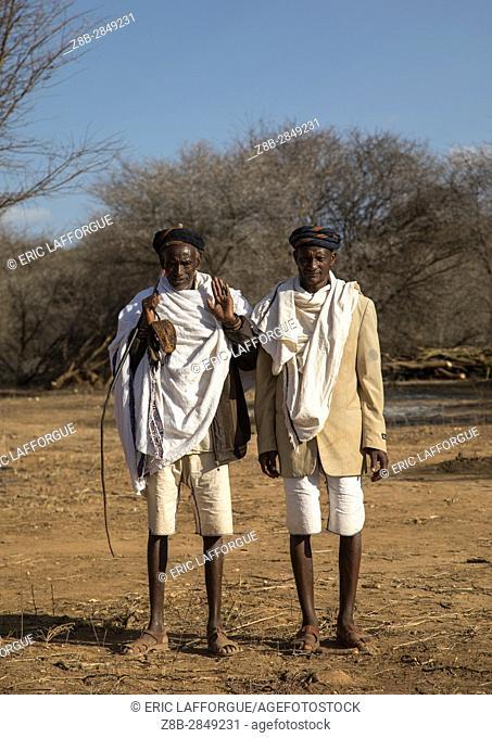 Borana tribe men during the Gada system ceremony, Oromia, Yabelo, Ethiopia