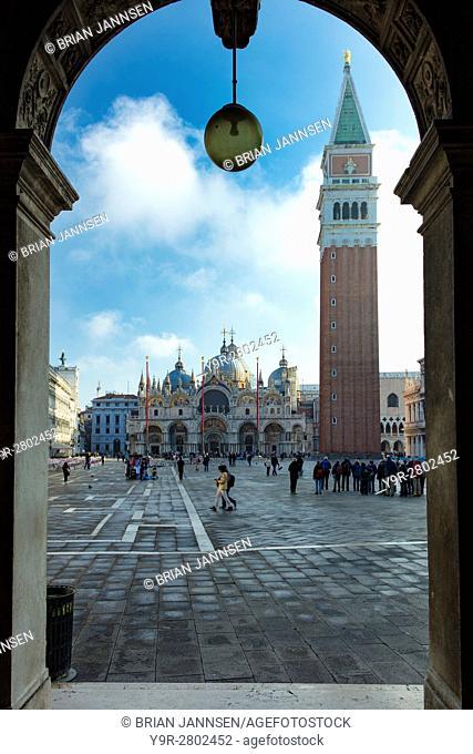 Early morning in Piazza San Marco, Venice, Veneto, Italy