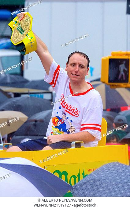 The Annual World-Famous Nathan's International Hot Dog Eating Contest in Coney Island, Brooklyn Featuring: Joey Chestnut Where: Brooklyn, New York