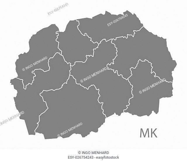 Macedonia regions Map grey