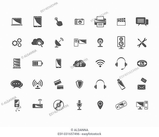 Big Vector black Technology icons set isolated