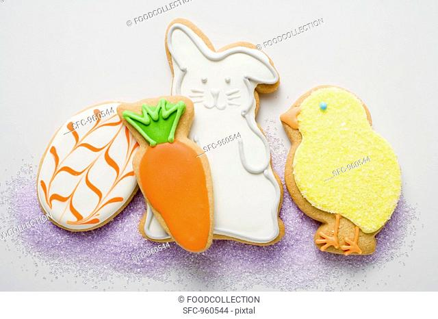 Assorted Easter biscuits chick, Easter Bunny, carrot, egg