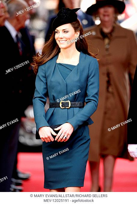 Catherine, Duchess of Cambridge, on a Royal Visit to De Montfort University, Leicester. She was accompanying Queen Elizabeth II and the Duke of Edinburgh