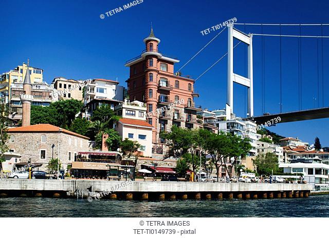 Turkey, Istanbul, Fortress of Europe with Fatih Sultan Mehmet Bridge over Bosphorus