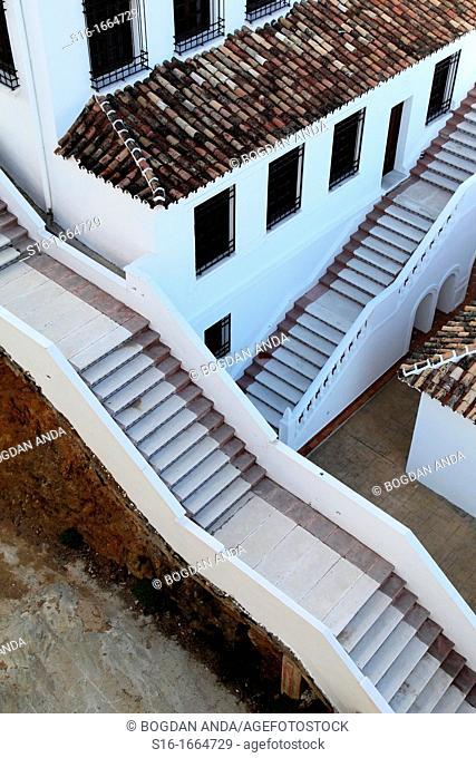 Mijas Pueblo, Spain, Malaga province - Andalusian mountain white village, pictoresque ooutdoor staircases