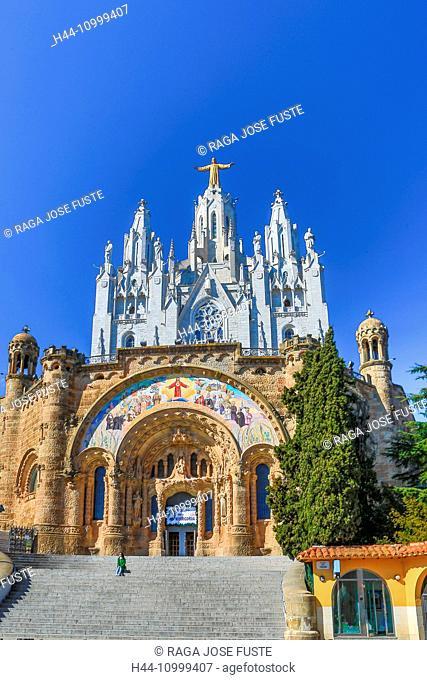 Spain, Catalonia, Barcelona City, Tibidabo, Holy Heart Church