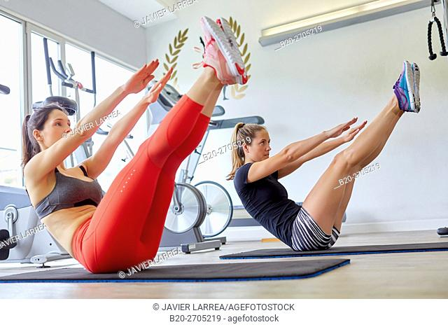 Pilates, women training in gym