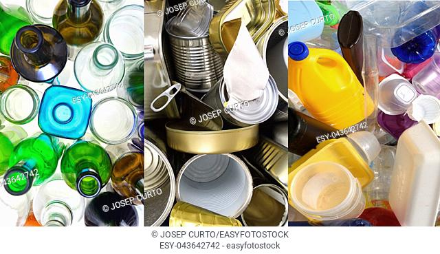 recycling glass, tin cans and plastic,