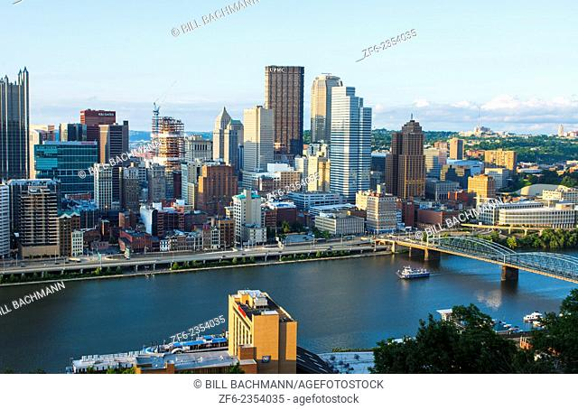Pittsburgh Pennsylvania skyline from Mt Washington of downtown city and rivers at Golden Triangle