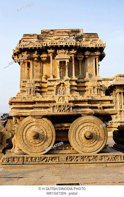 Stone Chariot Vittala Temple in Hampi at Karnataka India Asia