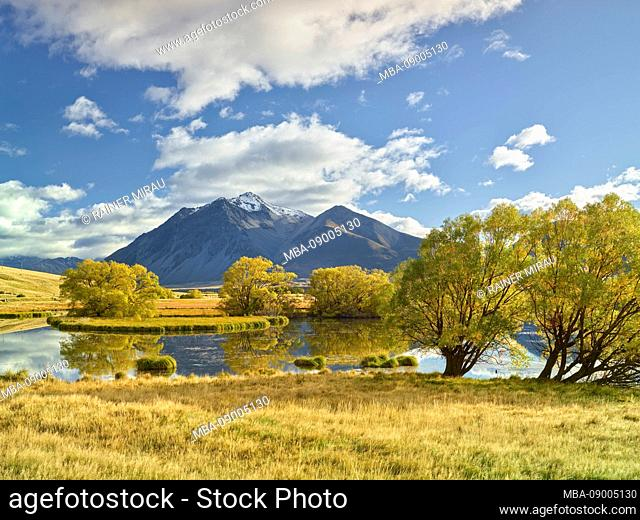 Nameless Lake in Ahuriri Valley, Barrier Range, Canterbury, South Island, New Zealand, Oceania