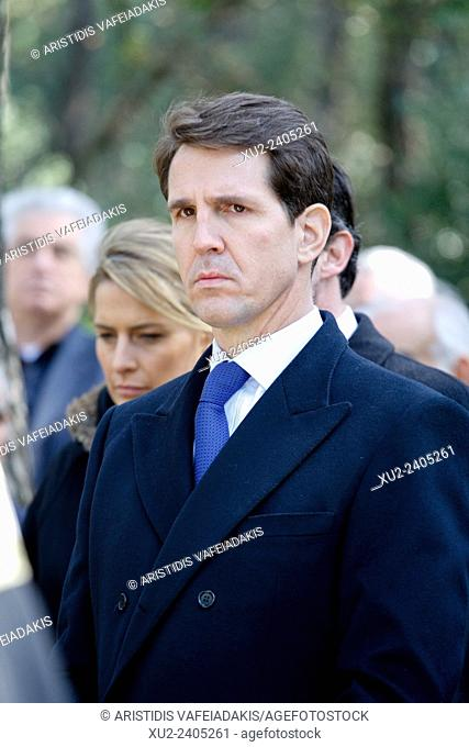 Prince PAVLOS of Greece attends the ceremony. The annual memorial service in honour of King Pavlos and Queen Frederika was held earlier today at Tatoi cemetery