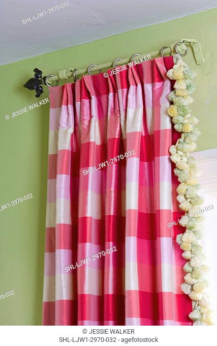 WINDOW TREATMENTS: pink and white buffalo check, with pom pom fringe detail, fleur de lys finial on antique rod, lime green wall